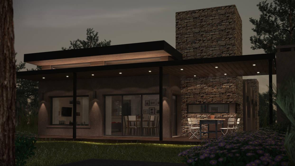 Nocturno solo con luces decorativas: Casas de estilo  por OX Render