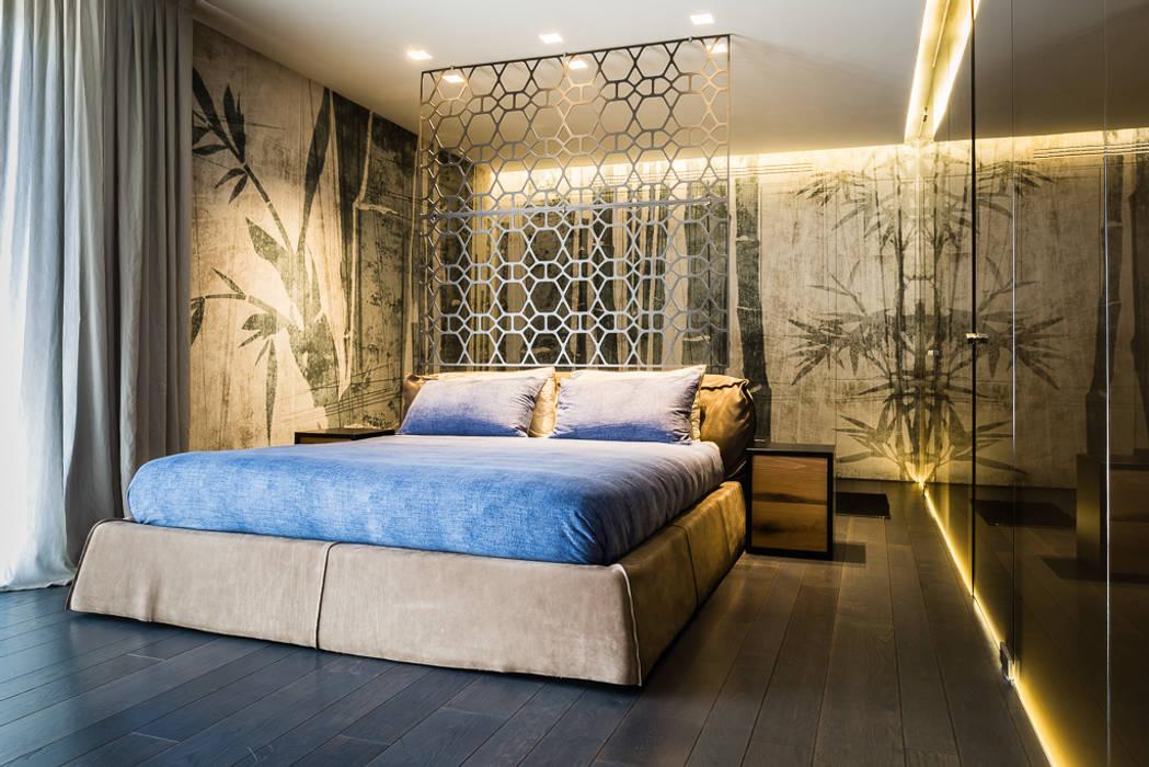 Zona notte con carta da parati camera da letto moderna di ...