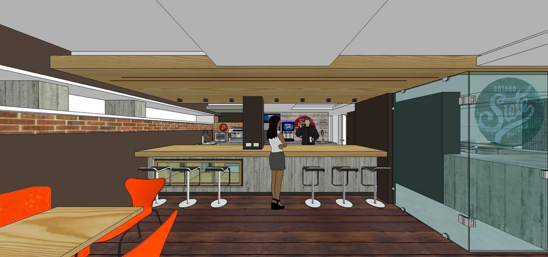 Vista externa de la barra y área de trabajo: Restaurantes de estilo  por MARATEA Estudio