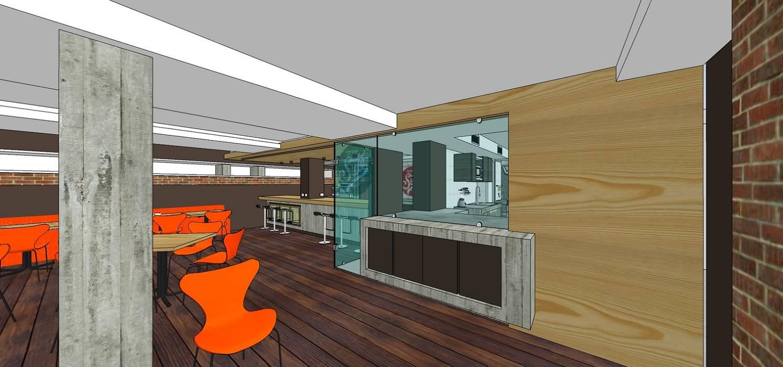 Vista externa de todo el frente de trabajo: Restaurantes de estilo  por MARATEA Estudio