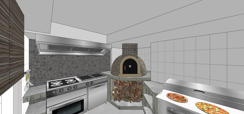 Área de preparación de pizzas y comida. Detalle del horno a la leña: Restaurantes de estilo  por MARATEA Estudio