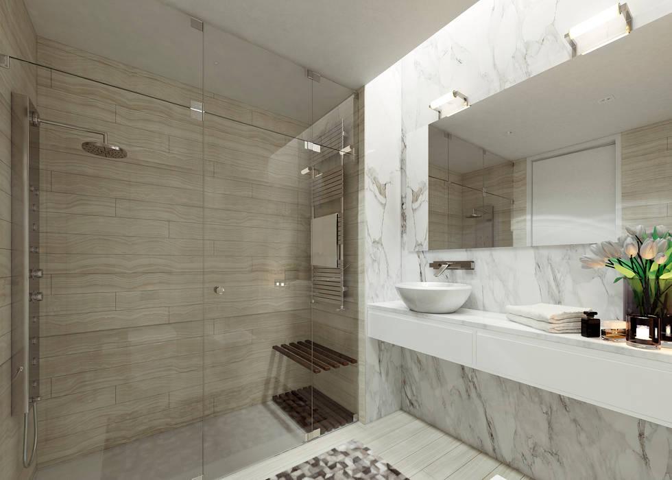 Moradia unifamiliar - Tipologia T4 Casas de banho minimalistas por Esboçosigma, Lda Minimalista