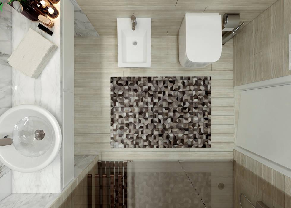 Moradia unifamiliar - Tipologia T4: Casas de banho  por EsboçoSigma, Lda,Minimalista