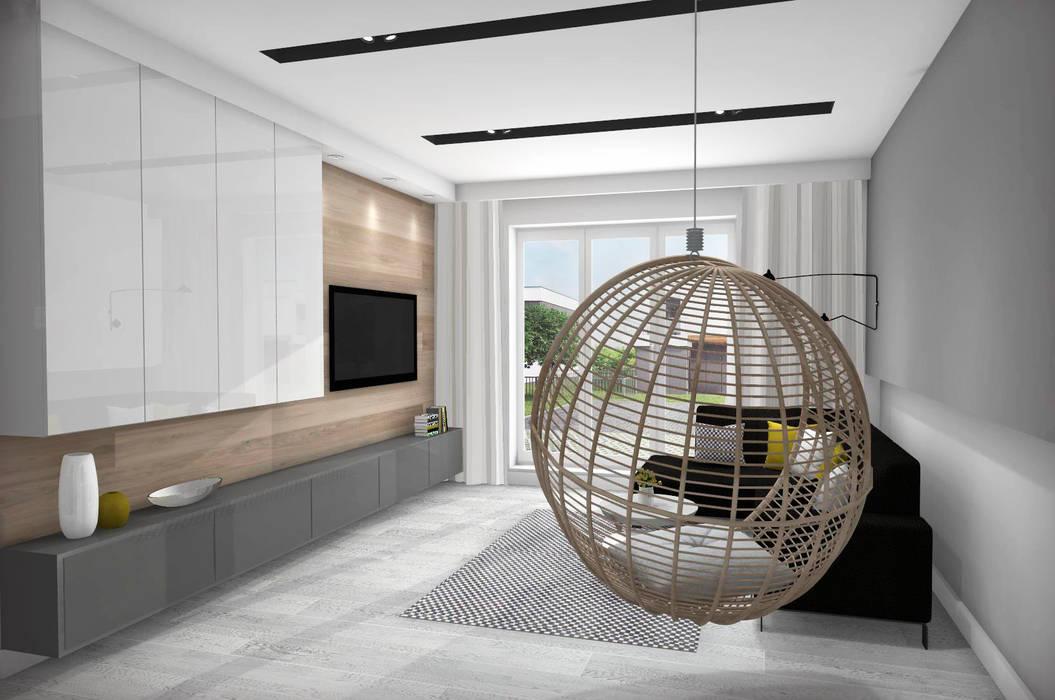 Salon Z Kuchnią Styl W Kategorii Zaprojektowany Przez