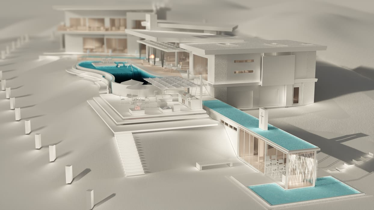 Modelo digital Casa FM Piscinas de estilo rústico de Leo Velandia Arquitectos Rústico Concreto