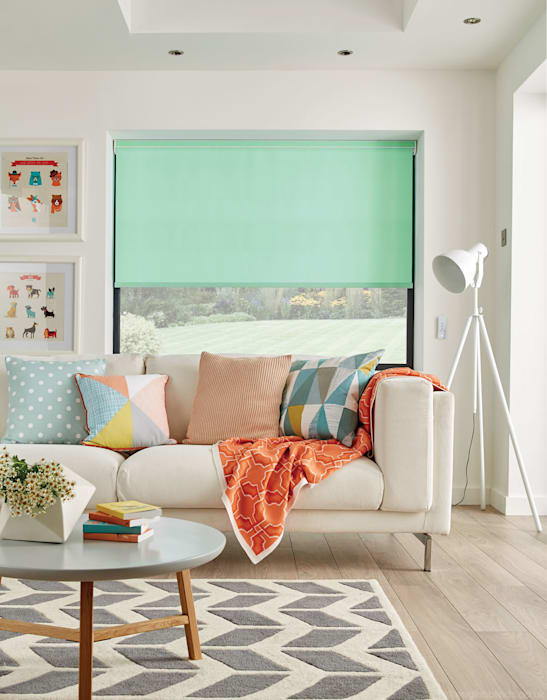 Mint Green Living Room Roller Blinds English Blinds Living roomAccessories & decoration Textile Green
