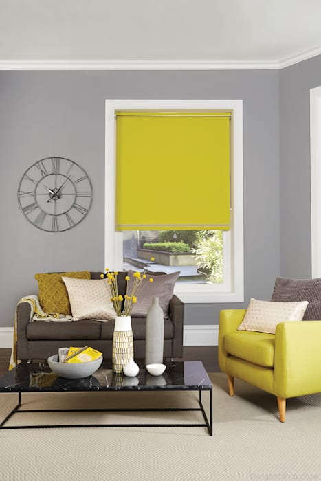 Vibrant Yellow Blackout Roller Blinds English Blinds SoggiornoAccessori & Decorazioni Tessuti Giallo