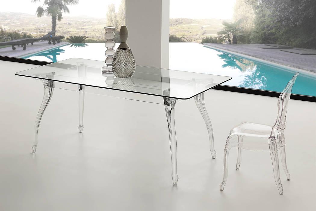 Tavolo da pranzo design moderno con piano in vetro ...