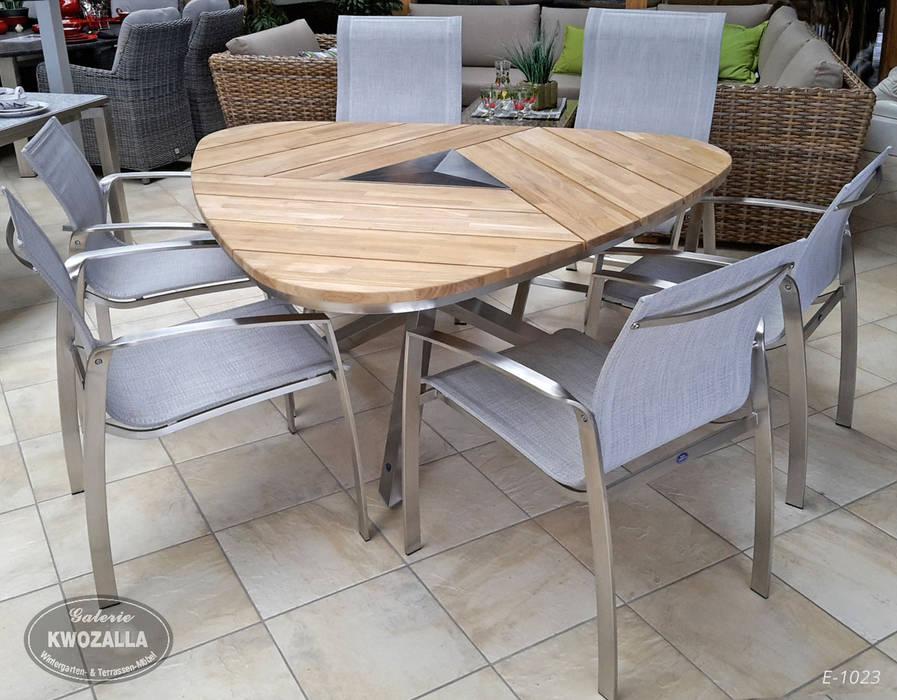 Dreieckiger Tisch Aus Teak Und Edelstahl Für 6 Personen Garten Von