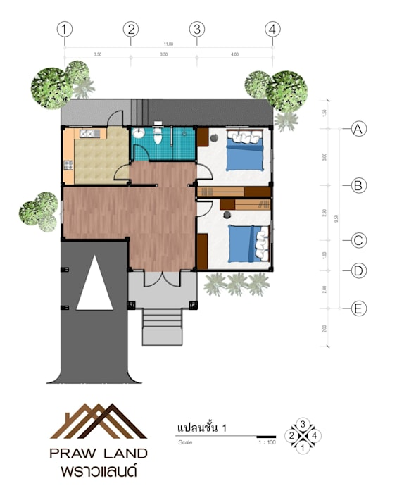 บ้านพักอาศัย คสล. 1ชั้น by PRAWLAND