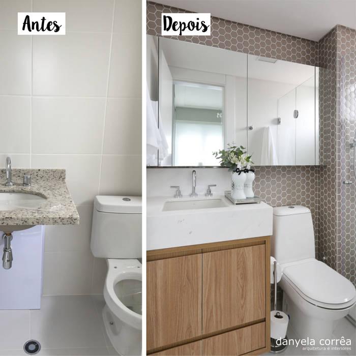 Antes e Depois Banheiros modernos por Danyela Corrêa Arquitetura Moderno