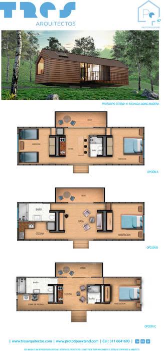 Prototipo Extend _ Viviendas Refugio 27-47-67: Casas de estilo  por @tresarquitectos,