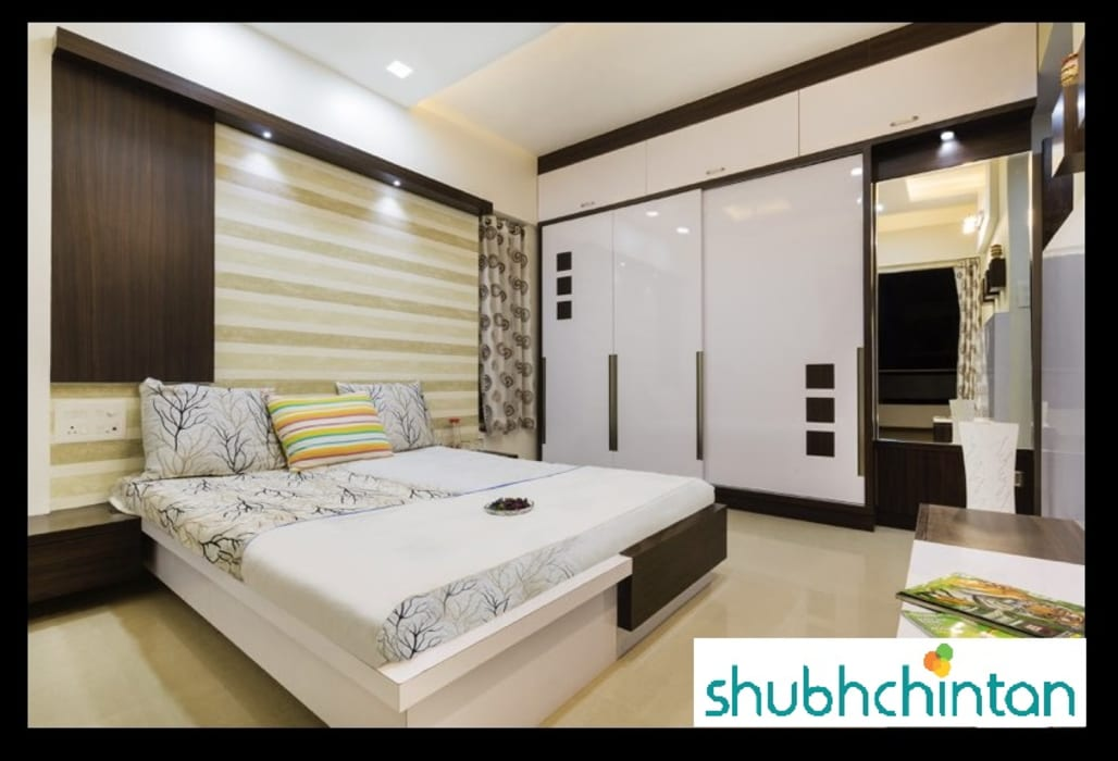bed and wardrobe details:  Bedroom by shubhchintan