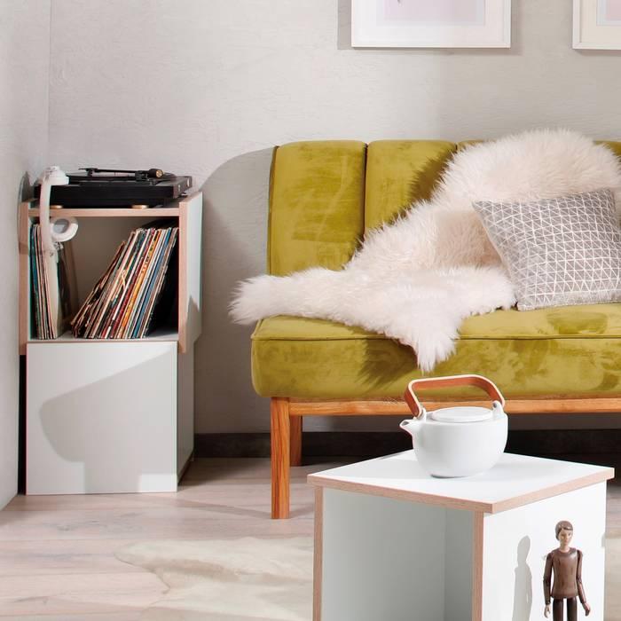Schallplatten-design-regal steck white: wohnzimmer von noook ...