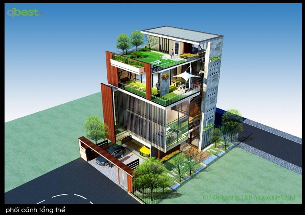 Thiết kế kiến trúc biệt thự:  Biệt thự by Công ty TNHH Thiết kế và Ứng dụng QBEST, Hiện đại