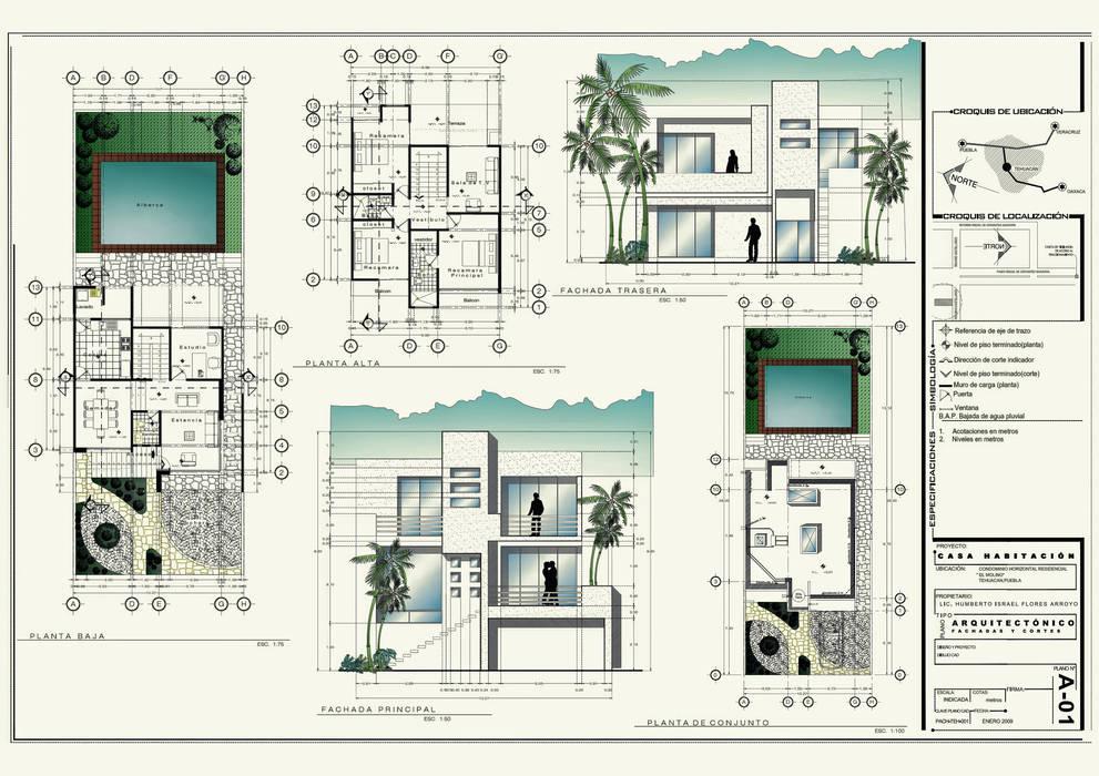 desarrollo proyecto ejecutivo: Casas de estilo  por 3h arquitectos, Moderno
