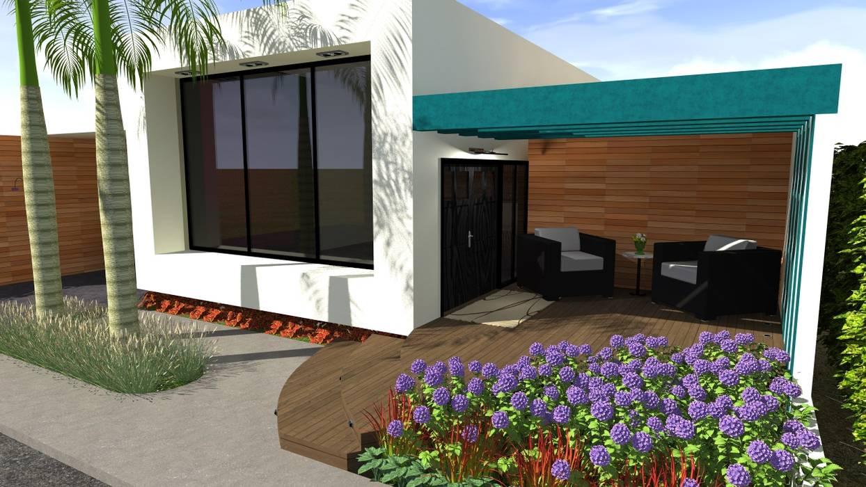 Vivienda Unifamiliar Salas de estilo moderno de N.A. ARQUITECTURA Moderno Madera Acabado en madera