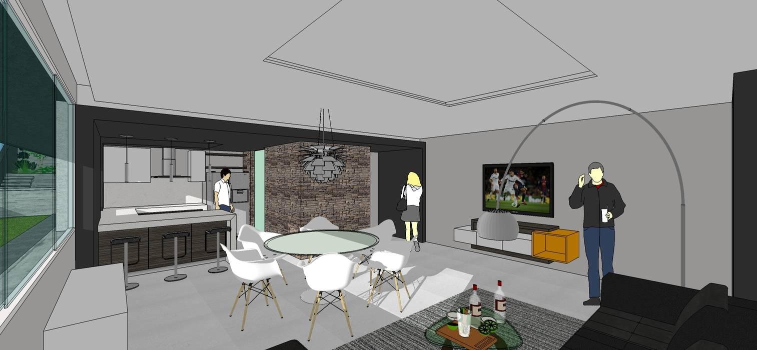 Apto. N°1. Sala-cocina-comedor Salas de estilo minimalista de MARATEA Estudio Minimalista