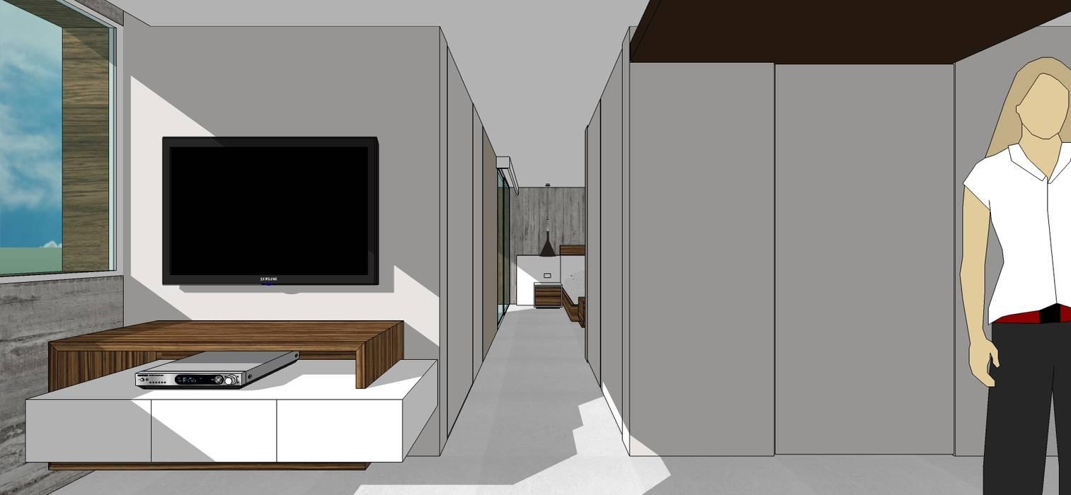 Apto. N°3. Pasillo hacia la habitación Salas de estilo minimalista de MARATEA estudio Minimalista