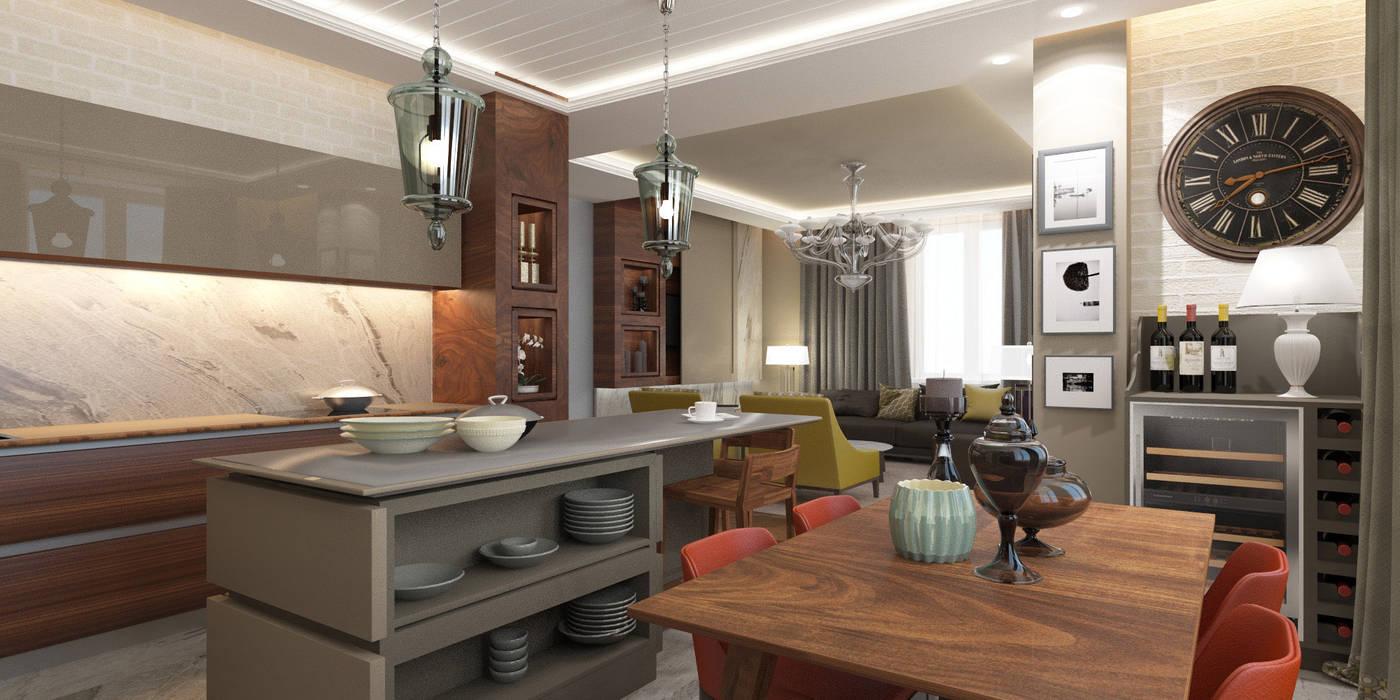 Апартаменты «НЬЮ-ЙОРКСКИЙ ШИК»: Столовые комнаты в . Автор – ART Studio Design & Construction, Колониальный