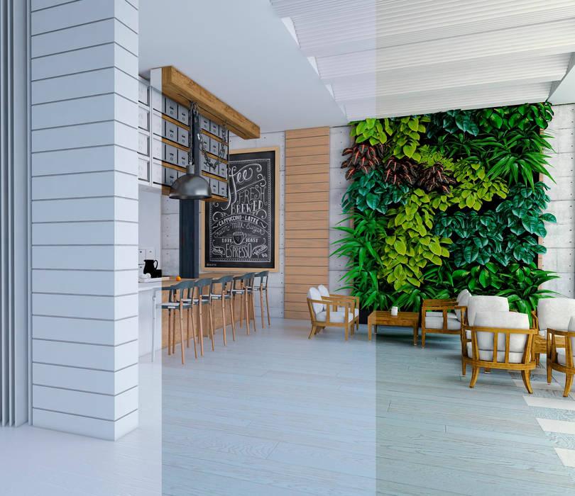 Lobby- Hotel. de ProcesoLAB Arquitectos Moderno Madera Acabado en madera