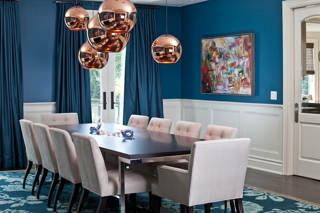 Blue & Rose Gold Dining Room:  Dining room by Douglas Design Studio