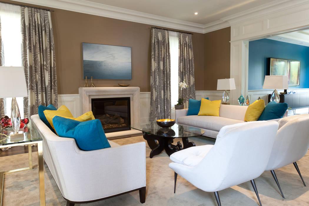Living Room Fireplace by Douglas Design Studio Modern
