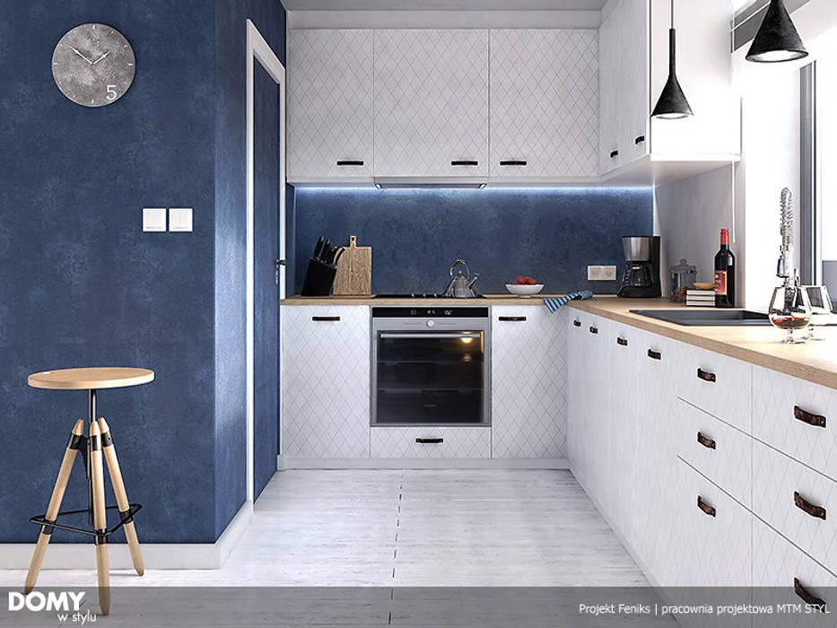 Wizualizacja wnętrza projektu domu Feniks Nowoczesna kuchnia od Biuro Projektów MTM Styl - domywstylu.pl Nowoczesny
