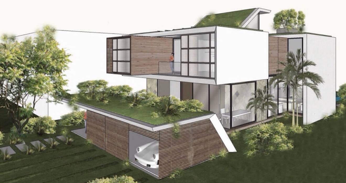 Vista da fachada Casas modernas por NATALIA BARTOLOMEO ARQUITETURA | DESIGN STUDIO Moderno Madeira Efeito de madeira