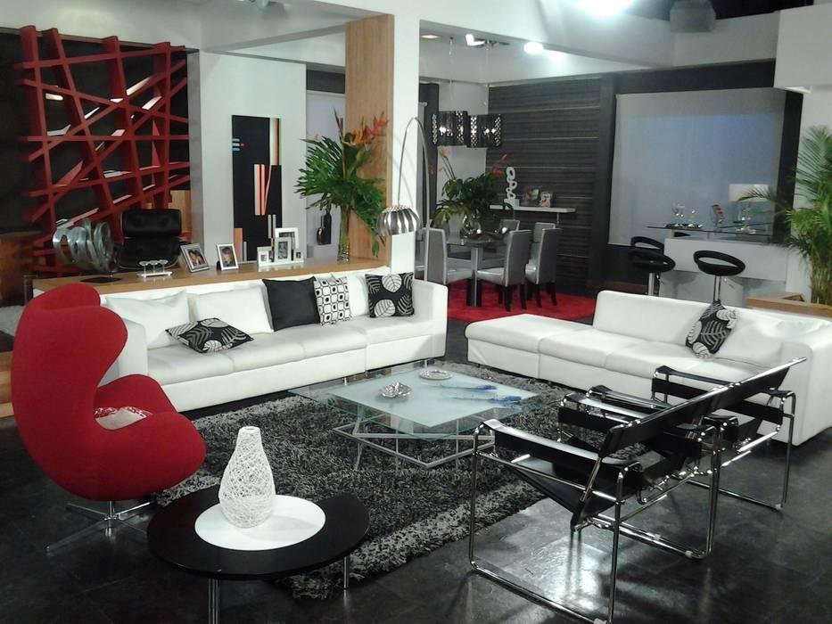 Decoración de sala y Acceso a aprtamento Salas de estilo moderno de ERGOARQUITECTURAS FL C.A. Moderno Vidrio