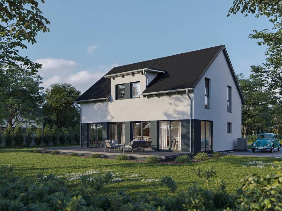 Satteldachhaus mit grauem Highlight :   von bauen.wiewir GmbH & Co KG