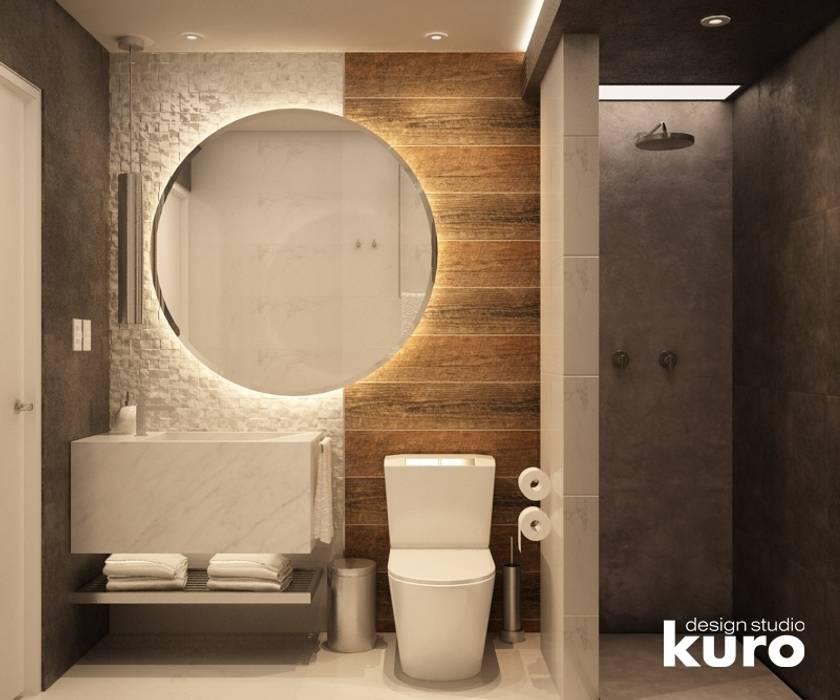 Baño Residencia La Molina: Baños de estilo  por Kuro Design Studio, Moderno
