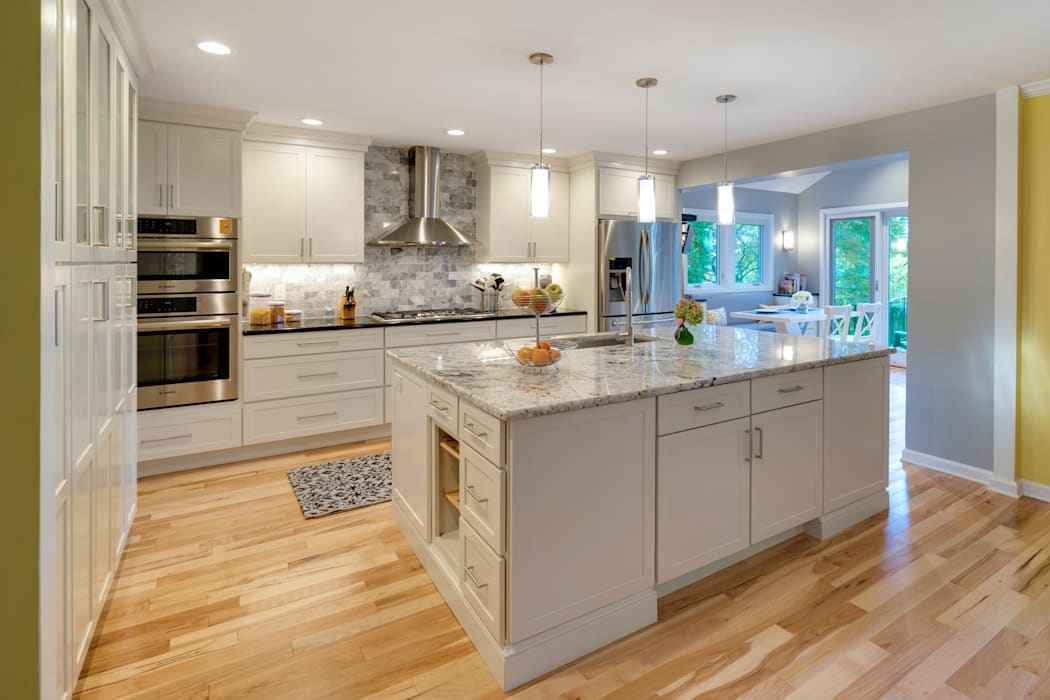 White Shaker Kitchen with Island by Main Line Kitchen Design Classic