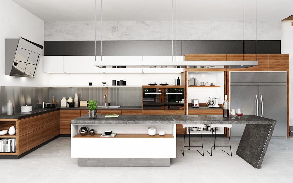 Kitchen Area Juxta Interior Dapur Tropis Grey
