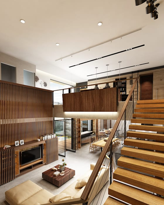 Juxta Interior Tropical corridor, hallway & stairs