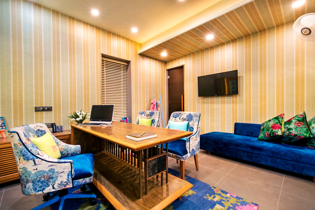 Owner's Cabin VB Design Studio Eclectic style offices & stores Multicolored