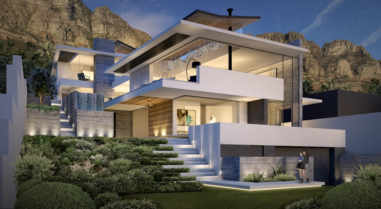 Street View _ Upper Tree Modern houses by GSQUARED architects Modern Reinforced concrete