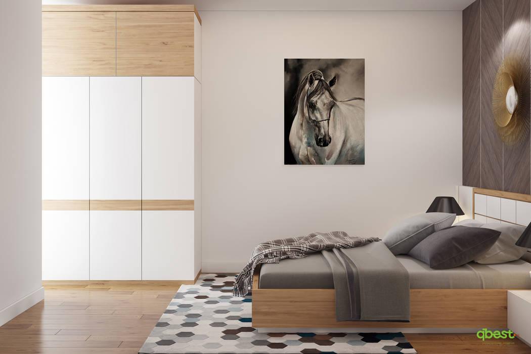 Phòng ngủ 2 vợ chồng: hiện đại  by Công ty TNHH Thiết kế và Ứng dụng QBEST, Hiện đại