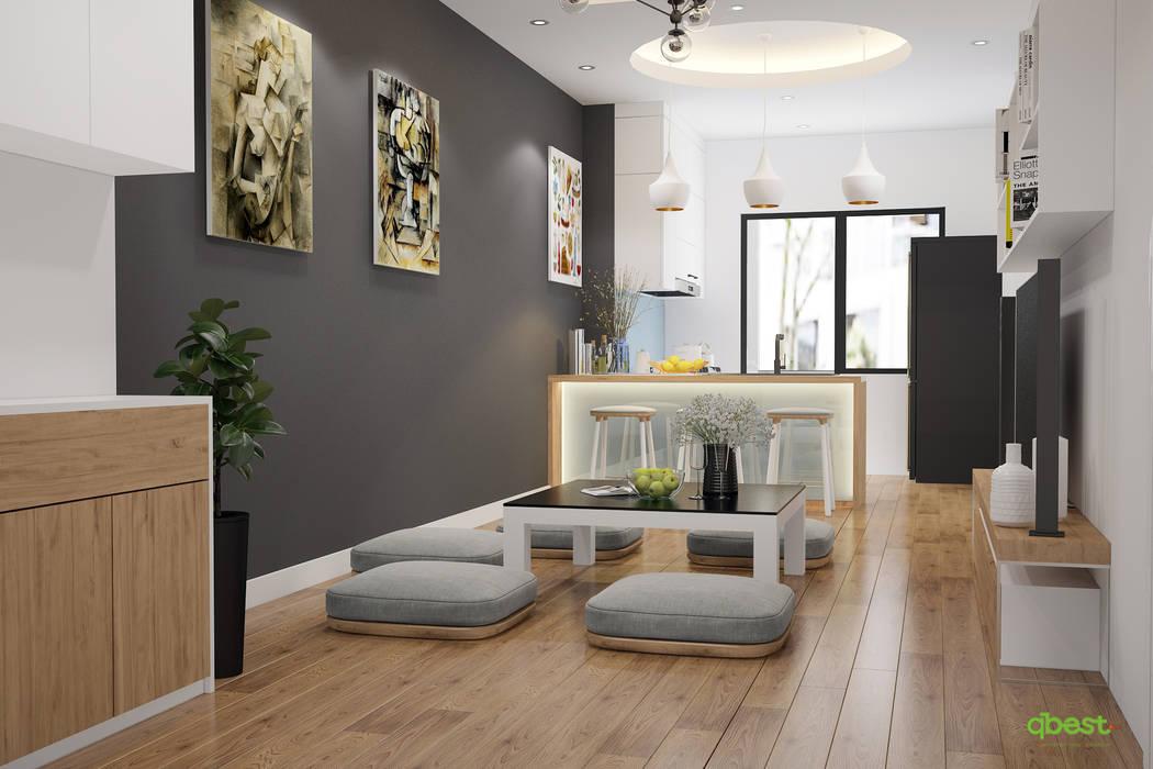 Phòng khách với phương án bàn thấp: hiện đại  by Công ty TNHH Thiết kế và Ứng dụng QBEST, Hiện đại