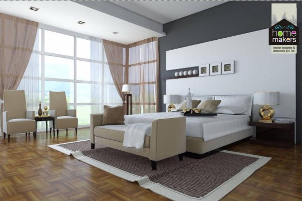 Beige Bedroom:  Bedroom by home makers interior designers & decorators pvt. ltd.