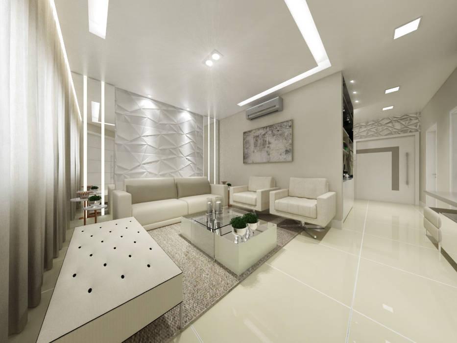 Sala de Estar para um Jovem Casal: Salas de estar  por Annelise Massani - Interiores + Arquitetura