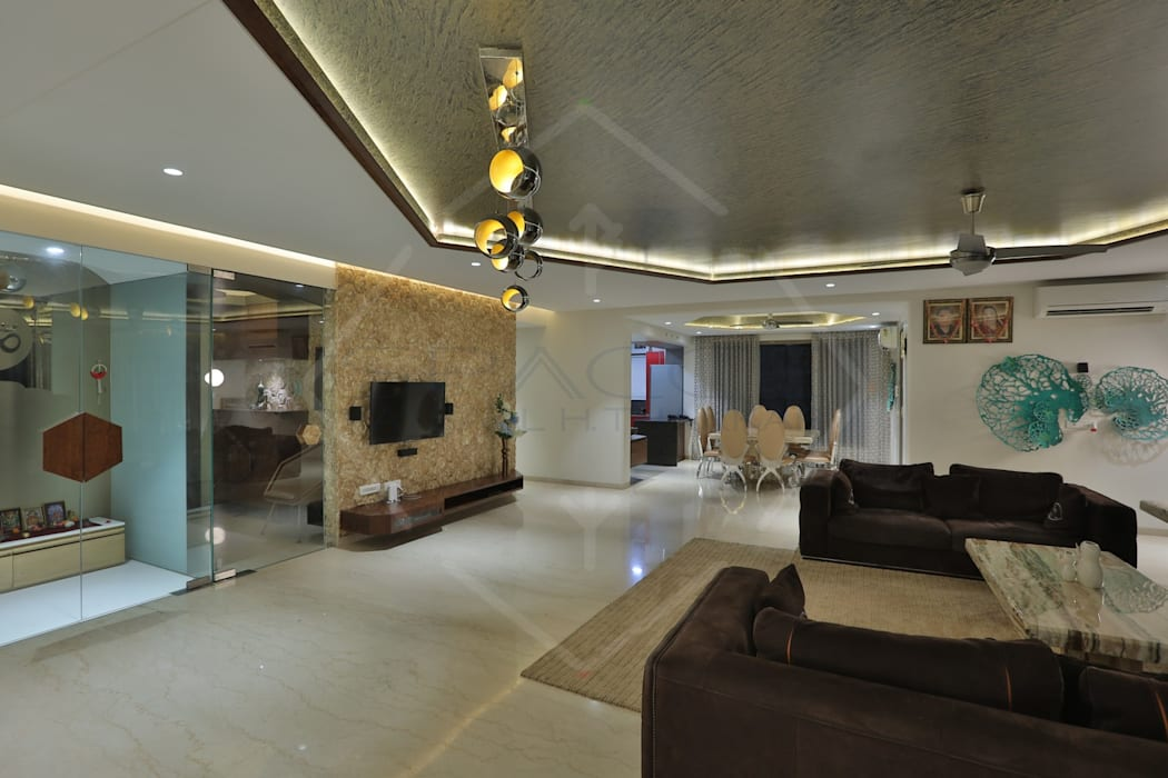 CAPITAL GREEN-2 Asian style living room by SPACCE INTERIORS Asian
