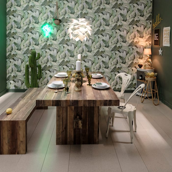 Rustic Tropical Dining Room :  Dining room by Little Mill House, Rustic