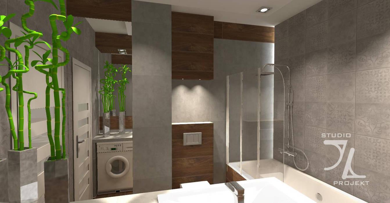 łazienka Szary Beton I Drewno Styl W Kategorii łazienka