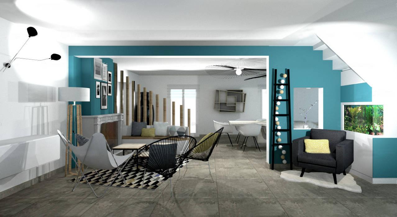 Aménagement d\'un salon contemporain avec cheminée par tiffany ...