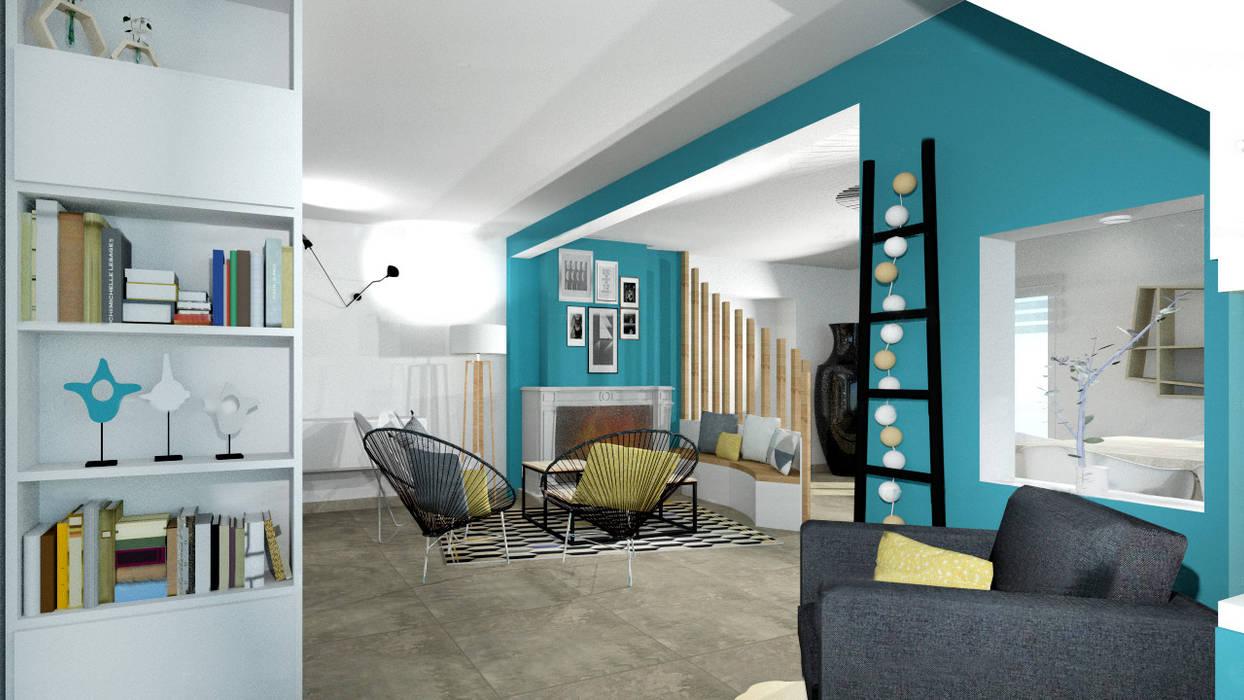 Aménagement Du0027une Espace Détente Contemporain Avec Cheminée Par Tiffany  Fayolle Architecte Du0027intérieur