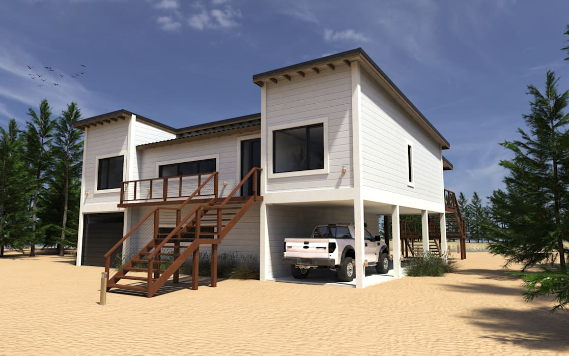 vivienda unifamiliar en la costa argentina: Casas de estilo moderno por JOM HOUSES