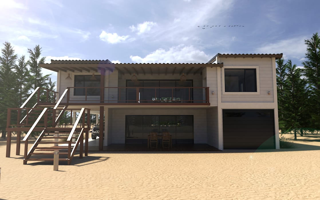Vivienda en la costa argentina: Casas de estilo  por JOM HOUSES,Moderno Ladrillos
