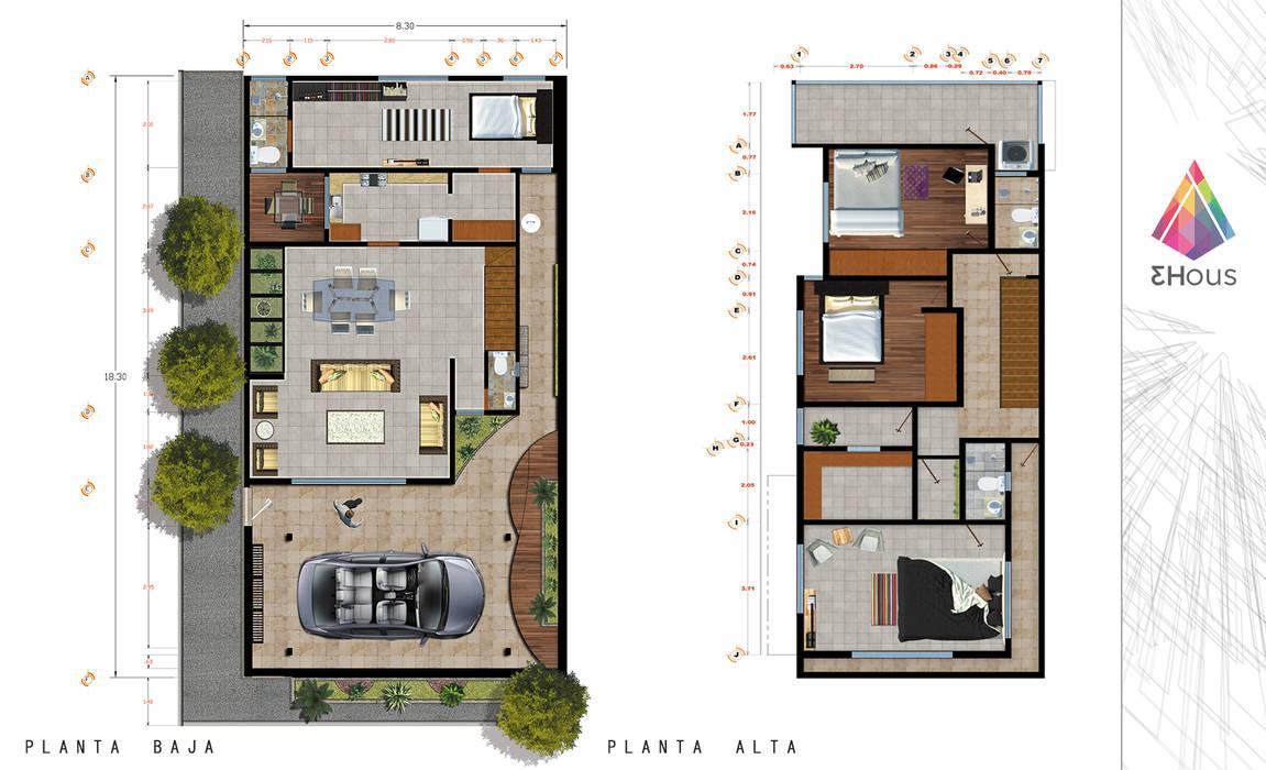 Representaci n de planta arquitect nica casa habitaci n for Plantas arquitectonicas de casas