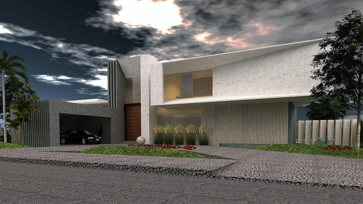 Vista Frontal : Casas de estilo  por CASTELLINO ARQUITECTOS (+),Moderno Hormigón